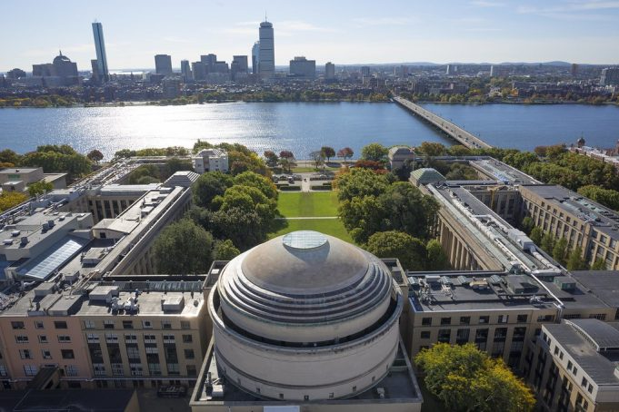 An aerial view of MIT over the dome
